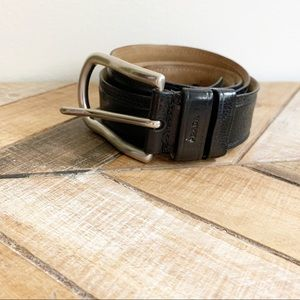 Prada Mens Black Leather Belt